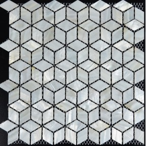 TST Mother Of Pearl Tiles 3D Cube White Diamond Mesh Mounted Nature Shell Tile