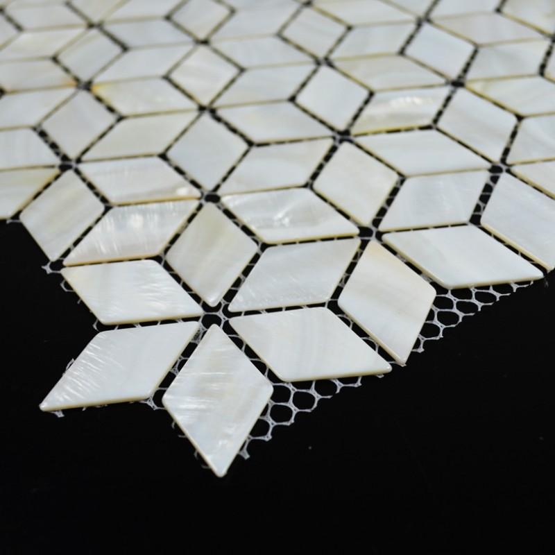 Tst Mother Of Pearl Tiles 3d Cube White Diamond Mesh