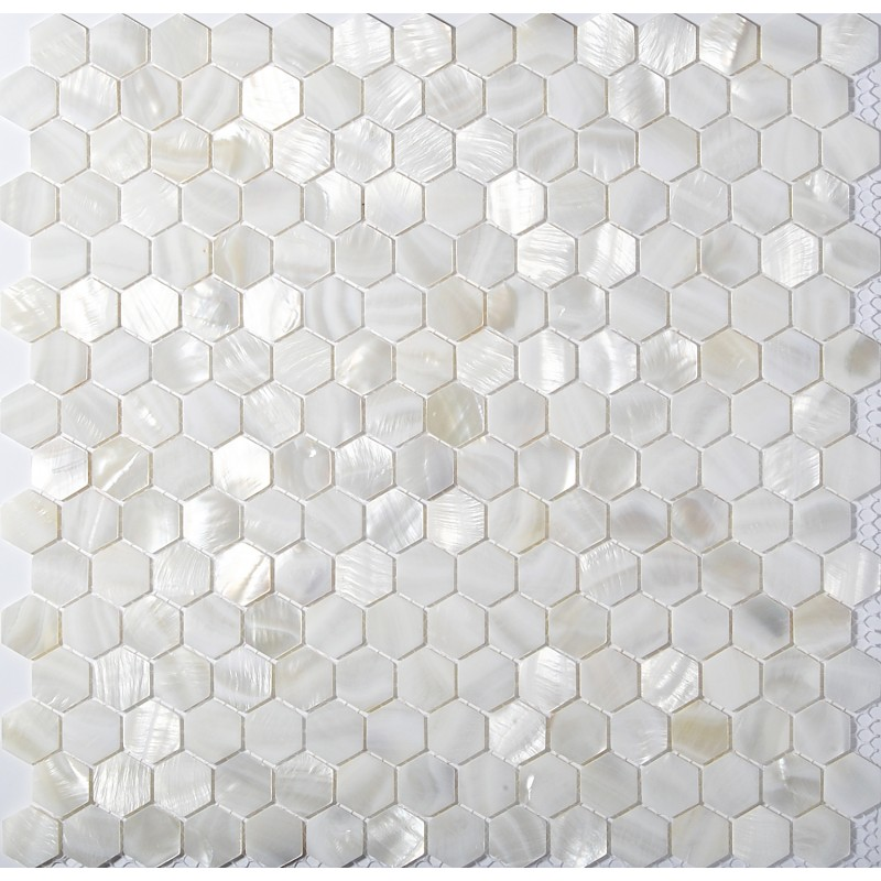 Tst Mother Of Pearl Tiles White Hexagon Shinning Wall Deco