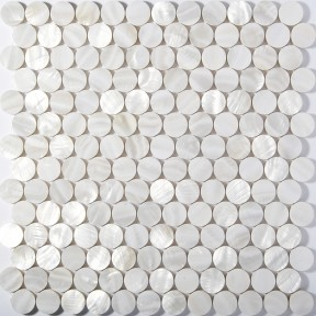 TST Freshwater Shell Pad Tiles White Round Chips Shinning Kitchen Backsplash Bathroom Wall Deco
