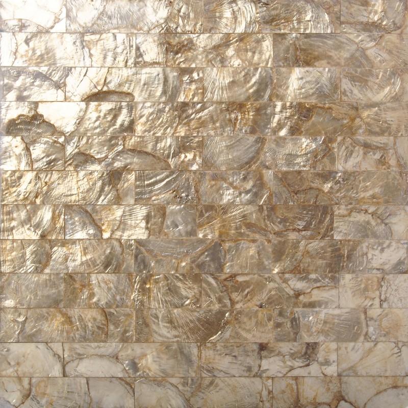 TST Freshwater Shell Pad Tiles Golden Natural Mother Of Pearl Tiles Luxury Subway Kitchen Backsplash