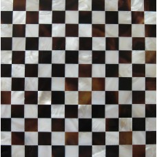 TST Mother Of Pearl Honey And Freshwater Shell Chess Pattern Brown And White Sea Shell Pad Tiles For  Interior Decor Element