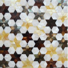 TST Mother Of Pearl Honey And Freshwater Shell Flower Pattern Brown And White  Sea Shell Pad Tiles For Interior Decor Element