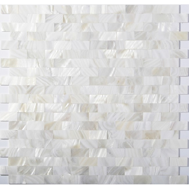 TST Mother Of Pearl Tiles White Subway Interlocking Bath Shower Backsplash Shell Tile