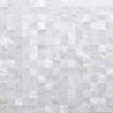 TST Mother Of Pearl Tiles White Squared 4/5'' Chips 2 mm Thick Mesh Mounted