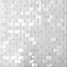 TST Mother Of Pearl Tiles White Subway Interlocking Gliterring Fresh Water Shell Tile