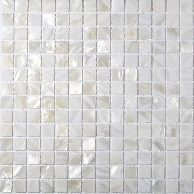 TST Mother Of Pearl Tiles White Squared 4/5'' Chips Natural Iridescent Finish Shell Tiles