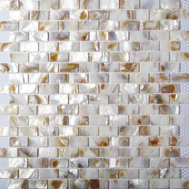 TST Freshwater Shell Slice Tiles Natural Shell White Interlocking Strips Bathroom Decor