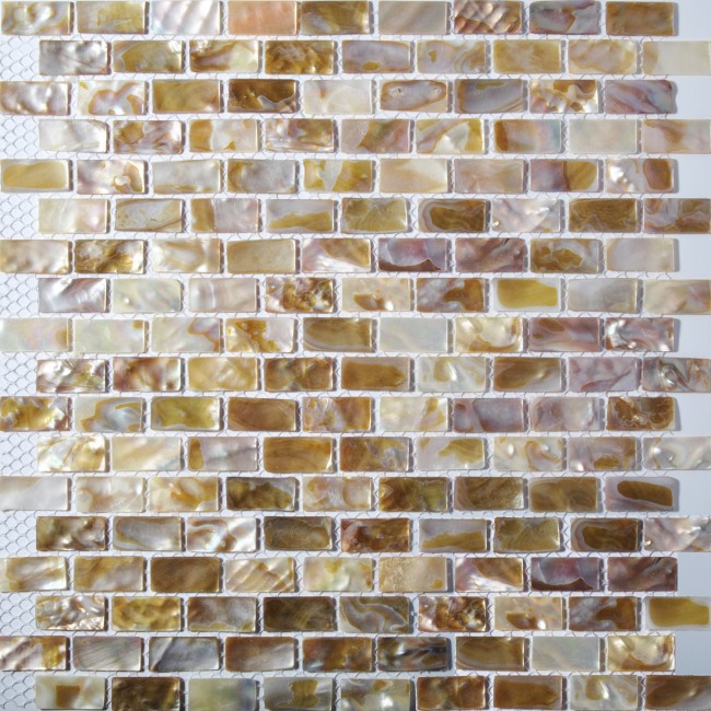 TST Freshwater Shell Slice Tiles Natural Shell Brownish Interlocking Strips Kitchen Backsplash Bathroom Wall Deco