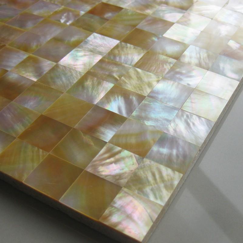 Yellow Mosaic Tile Backsplash: TST Yellow Lip Shell Sea Shell Yellow Gold Seamless