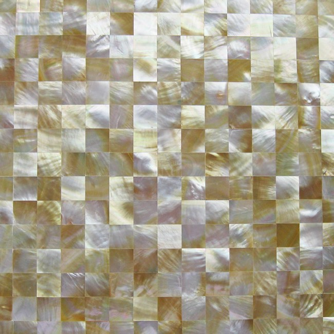 TST Yellow Lip Shell Sea Shell Yellow Gold Seamless Squared Mother Of Pearl Mosaic Tile Backsplash Kitchen Bathroom Wall Mirror Deco