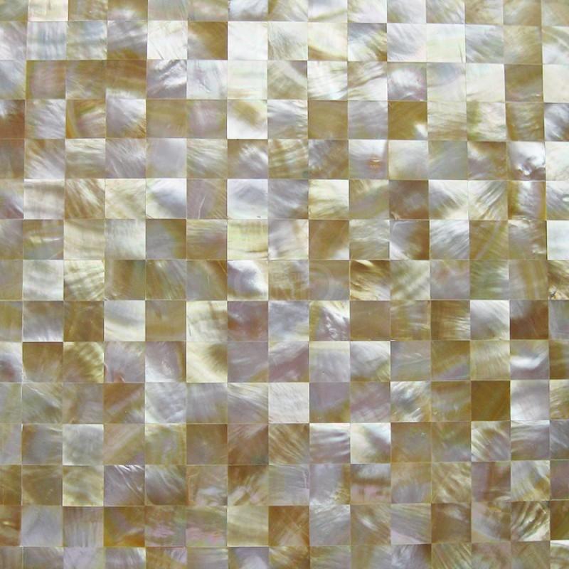 tst yellow lip shell sea shell yellow gold seamless squared mother of pearl mosaic tile backsplash