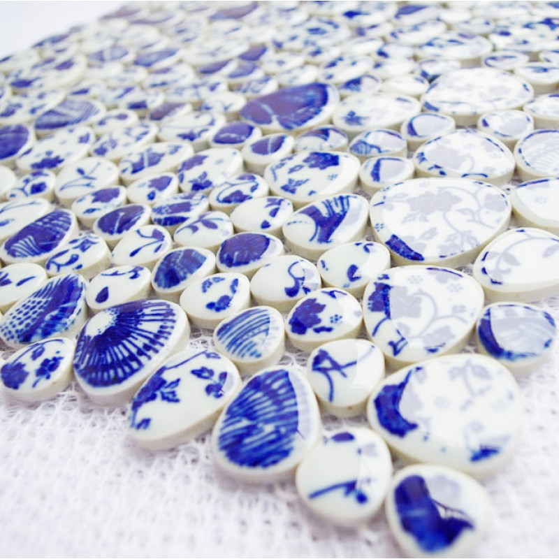 Tst Blue And White Porcelain Pebbles Glazed Art Mosaic