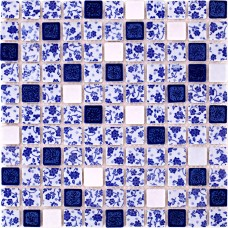 TST Blue And White Porcelain Squared Tiles Fambe Glazed Mosaics Wall Flower Pattern
