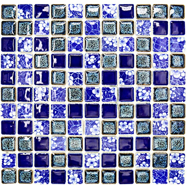 TST Blue And White Flower Pattern Porcelain Squared Tiles Dark Blue Fambe Glazed Mosaics