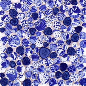 TST Blue And White Porcelain Pebbles Dark Blue Glazed Art Mosaic Theme Hotel Deco
