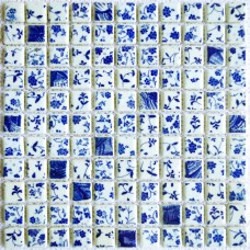 TST Blue And White Porcelain Squared Tiles Glossy Flower Pattern Art Mosaics