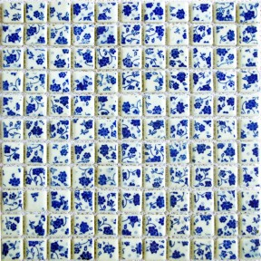 TST Blue And White Porcelain Squared Tiles Glazed Mosaics Flower Pattern Art Tiles