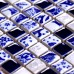 TST Blue And White Porcelain Mosaic Tiles New Design Fambe Flower Art Wall Backsplash