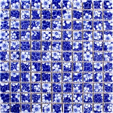 TST Blue And White Porcelain Mosaics Flower Pattern Squared Tiles Backsplash Wall