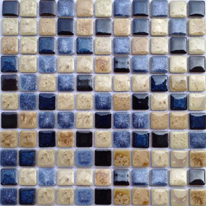 Tst ceramic mosaics sky blue beige square fambe glossy wall deco swimming pool tiles - Mosaic pool tiles ...