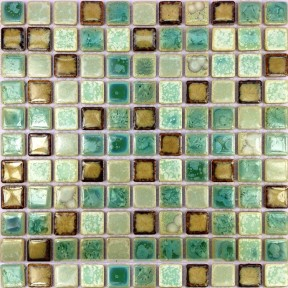 TST Ceramic Mosaics Fambe Shower Floor Kitchen Backsplash  Green Glossy Tiles