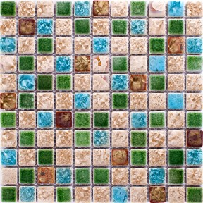 TST Ceramic Mosaics Green Blue & Beige Fambe Flower Shower Wall Floor Backsplash Tiles