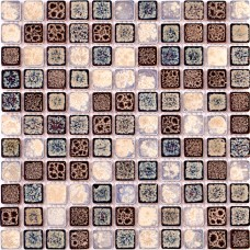 TST Ceramic Mosaics Wall Floor Chocolate Blue & Beige Fambe Flower Glazed Porcelain Tiles