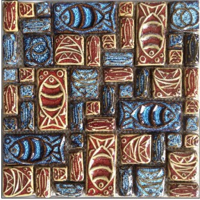 TST Ceramic Mosaics Colorful 3D Totem Convex Fish Symbols Art Deco Tiles