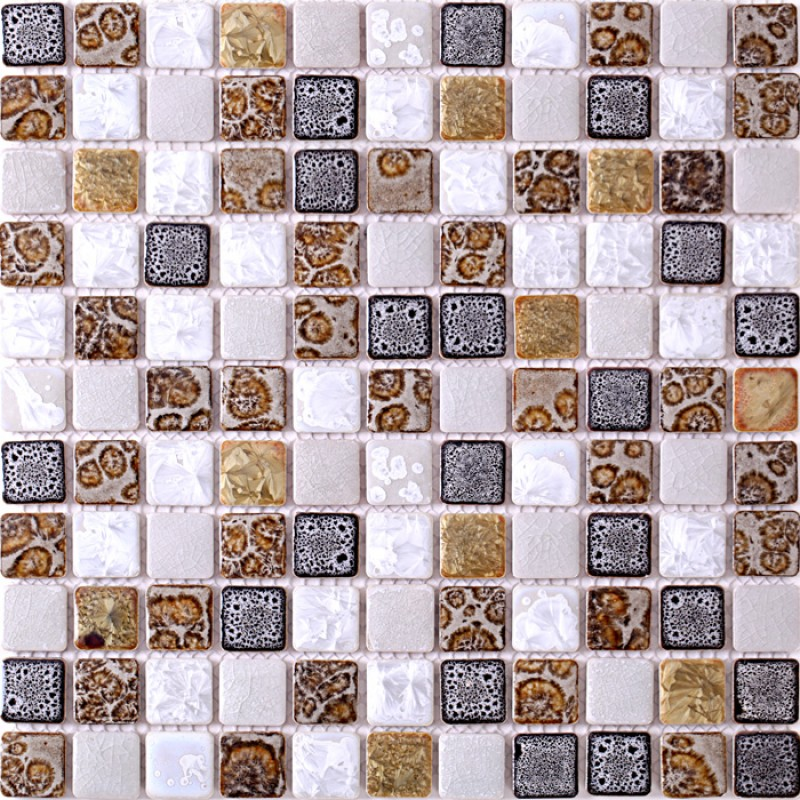 Tst Ceramic Mosaic Tiles Black White Chocolate Leopard Print Beautiful Mosaics Art Wall