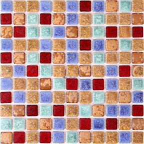 TST Ceramic Mosaic Tiles Fambe Flower Effect Multi-Color Glazed Tiles Bath Shower Floor Backsplash