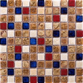 TST Ceramic Mosaics Fambe Flower Chocolate Beige Art Mosaic Tiles Glazed Kitchen Bath Wall Floor Tiles