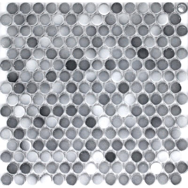 Gradient For Bathroom Floor : Tst penny rounds porcelain tiles gradient gray glossy