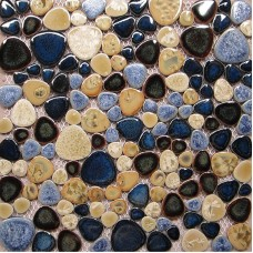 TST Porcelain Pebbles Art Fambe Mosaic Blue Glazed Ceramic Tiles Bath Floor