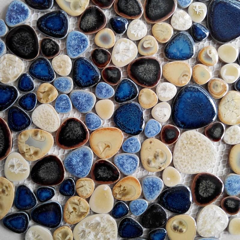 Tst Porcelain Pebbles Art Fambe Mosaic Blue Glazed Ceramic Tiles Bath Floor