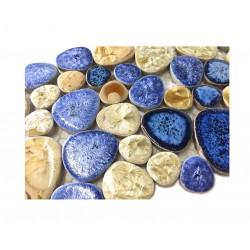TST Porcelain Pebbles Art Fambe Mosaic Blue Glazed Ceramic Tiles Bath Floor Sample 6x6 Inches