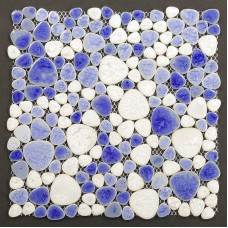 TST Porcelain Pebbles Art Fambe Mosaic Blue Glazed Pebble Mosaic Tile For Bath Floor Outdoors Decor