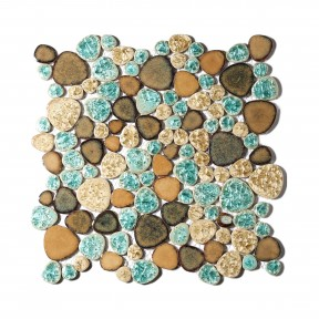 Pebble Porcelain Tile Fambe Turquoise Green Beige Shower Floor Pool Alley Tiles Mosaic TSTGPT005