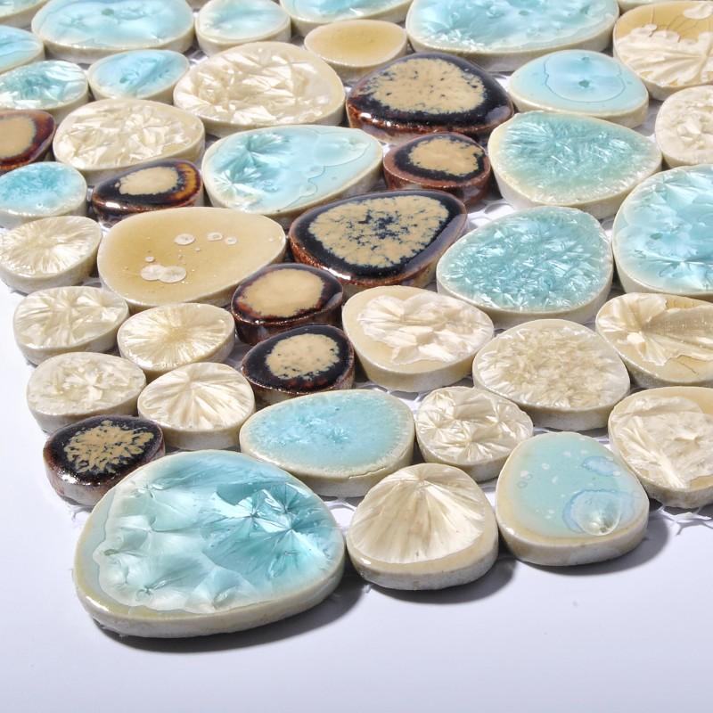 Tst Porcelain Pebbles Beautiful Fambe Bathroom Floor Turquoise Beige Mosaic Tiles Wall Deco