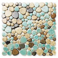 TST Porcelain Pebbles Beautiful Fambe Bathroom Floor Turquoise Beige Mosaic Tiles Wall Deco