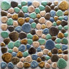 TST Porcelain Pebbles Matt Green Blue Fambe Heart Shape Shower Floor Pool Tiles
