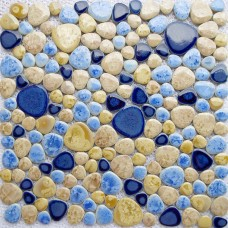 TST Porcelain Pebbles Art Fambe Mosaic Blue Glazed Pebble Tile Bath Floor Swimming Pool Decor