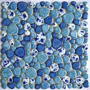 New Design TST Porcelain Pebbles Fambe Blue & White Heart Shape Bathroom Floor Mosaic Tiles