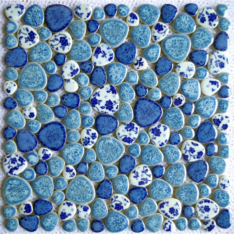 New Design Tst Porcelain Pebbles Fambe Blue White Heart Shape Bathroom Floor Mosaic Tiles
