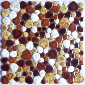 TST Porcelain Pebbles Fambe Brown White Yellow Heart Shape Ceramic Mosaic Tiles