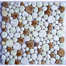 TST Porcelain Pebbles Fambe Mosaic Brown Glazed Stone Pebble Flooring Bath Swimming Pool Decor