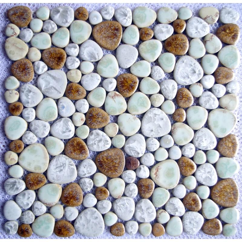Fossilised Wood Pebble Stone Effect Ceramic Wall Floor: TST Porcelain Pebbles Art Fambe Mosaic Brown Mosaic Pebble