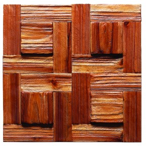 TST Wooden Squared  Mosaic Uneven Surface Modern Style Wall Deco Art