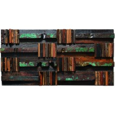 TST Aligned Wooden Panels Wall Green Scrawl DIY Design Deco Tiles