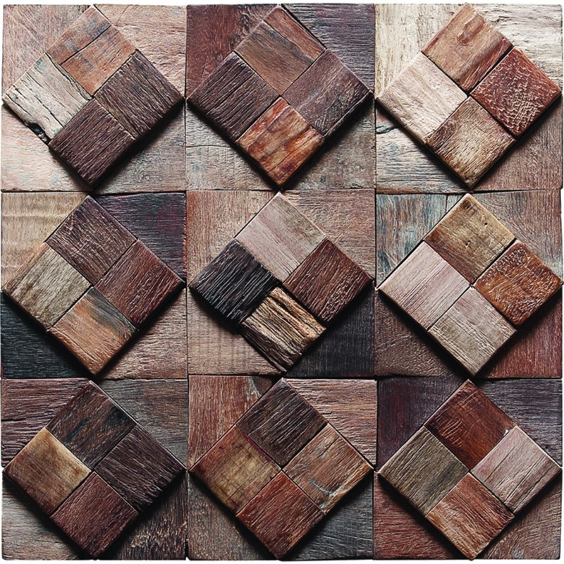 Tst Home Hotel Bar Deco Diamond Squared Vintage Reclaimed Wood Decorative Wall Panels